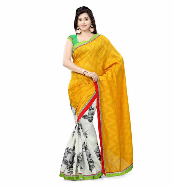 DESIGNER YELLOW AND OFF-WHITE SEMI CASUAL SAREE RTTV6002