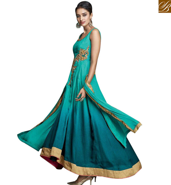 STYLISH BAZAAR STRIKING SKY BLUE COLORED ANARKALI STYLE DESIGNER SUIT WITH BEAUTIFUL EMBROIDERED WORK KYR6002