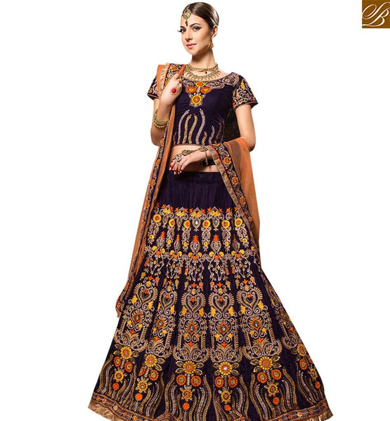 STYLISH BAZAAR GRACEFUL PURPLE COLORED WEDDING WEAR LEHENGA CHOLI RTHYB6002