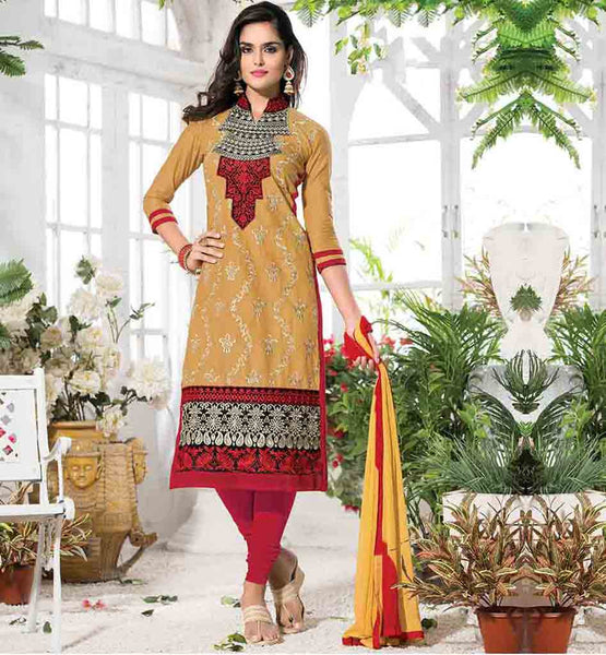 EMBROIDERED FANCY PUNJABI SALWAR SUIT NECK DESIGN COLLAR DECORATED WITH DETAILING |. EXCITING MUSTARD COLOR CAMBRIC COTTON KAMEEZ WITH CONTRAST PINK COTTON BOTTOM AND YELLOW DUPATTA