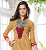 EXCITING MUSTARD COLOR CAMBRIC COTTON KAMEEZ WITH CONTRAST PINK COTTON BOTTOM AND YELLOW DUPATTA | STYLISH PUNJABI SUIT NECK DESIGN COLLAR ADDS  FANCY LOOK