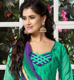 GREEN CHANDERI COTTON OFFICE WEAR DRESS WITH COTTON SALWAR