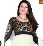 BAZAAR COMBO DRESS LEHENGA & SALWAR SUIT  This suit has Golden color floral embroidery work at neck line and Off White color Floral
