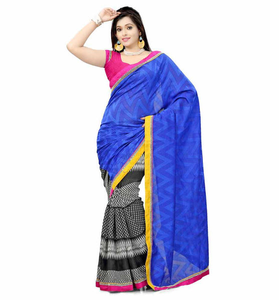 DESIGNER BLUE AND BLACK SEMI CASUAL SAREE RTTV6003