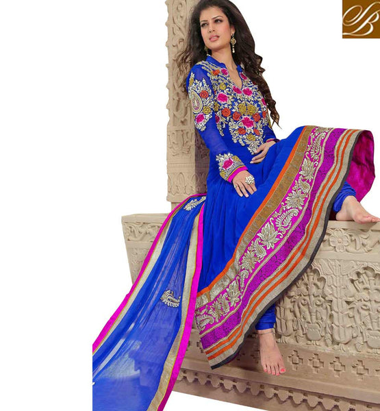 BEWITCHING BLUE PURE GEORGETTE ANARKALI SALWAR KAMEEZ WITH DUPATTA