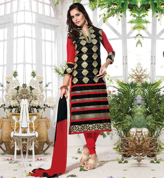 PUNJABI SALWAR SUITS FOR WOMEN AT BEST PRICE BLACK CAMBRIC COTTON DRESS WITH CONTRAST RED SLEEVE