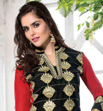 BLACK CAMBRIC COTTON DRESS WITH CONTRAST RED SLEEVE FINE EMBROIDERY WORK IS DONE ON THE DRESS AND COMES WITH SHADED DUPATTA