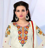 COMELY PUNJABI STYLE OFF-WHITE PARTY WEAR SALWAR SUIT