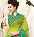 ELEGANT GREEN & YELLOW SARI FOR DAILY USE