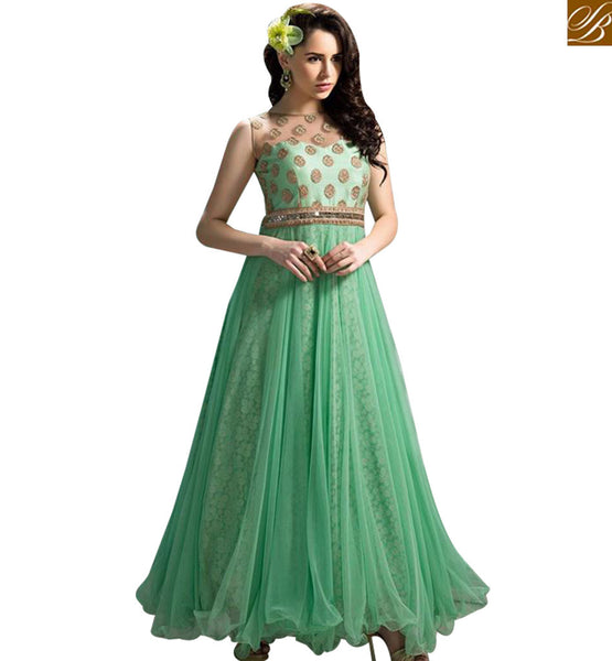 STYLISH BAZAAR SEA GREEN NET DESIGNER SALWAR KAMEEZ HAVING GOWN STYLE FEATURE ABSHE6004