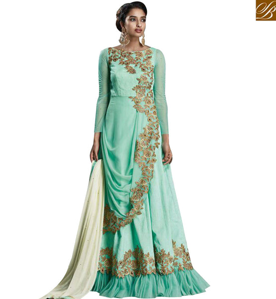 STYLISH BAZAAR REMARKABLE GOWN STYLE DESIGNER SUIT WITH GREAT EMBROIDERED WORK KYR6004