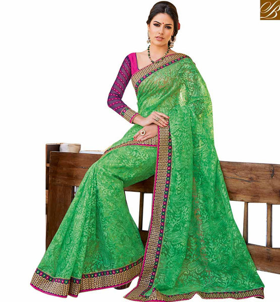 FROM THE HOUSE  OF STYLISH BAZAAR ELEGANT DESIGNER SAREES SPECIALLY MADE FOR PARTIES RTHTS6004