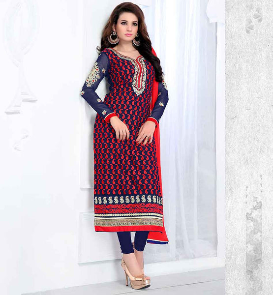 IRRESISTIBLE OFF-WHITE STRAIGHT GEORGETTE PARTY WEAR SALWAR KAMEEZ