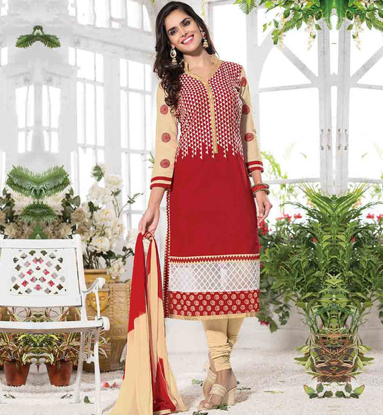 SALWAR BOTTOM DESIGNS BASIC CHURIDAR STYLE RED COLOR CAMBRIC COTTON SUIT WITH BEIGE SALWAR AND SHADED DUPATTA