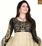RAMADAN EID 2015 SPECIAL COLLECTION 2 IN 1 DRESS Beige and Black net top with embroidery work, Santoon
