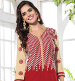 RED COLOR CAMBRIC COTTON SUIT WITH BEIGE SALWAR AND SHADED DUPATTA STRAIGHT CUT PATTERN EMBROIDER KAMEEZ WITH STYLISH NECKLINE AND COLLAR