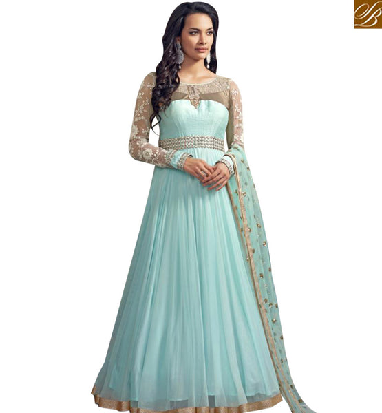 STYLISH BAZAAR PLEASING SKY BLUE GEORGETTE NET DESIGNER ANARKALI DRESS WITH FULL SLEEVES ABSHE6005