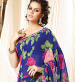 HEAVY FLORAL PRINT OFFICE WEAR SARI