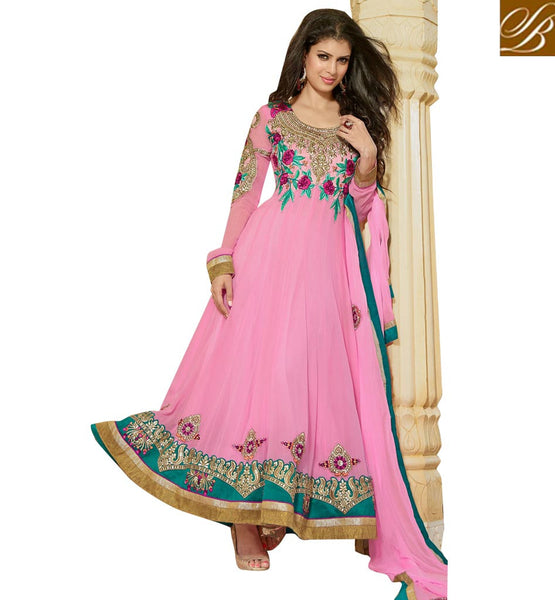 LOVELY LIGHT PINK PURE GEORGETTE ANARKALI SALWAR KAMEEZ WITH DUPATTA