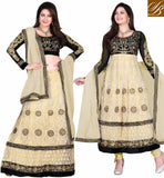 STYLISH BAZAAR FUSION COLLECTION ANARKALI OR LENGHA  RAMADAN EID 2015 SPECIAL COLLECTION 2 IN 1 DRESS Beige and Black net top with embroidery work, Santoon bottom and chiffon dupatta. Golden color thread work