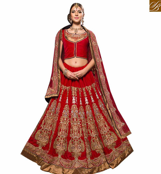 STYLISH BAZAAR RAVISHING RED COLORED PERFECT WEDDING WEAR LEHENGA CHOLI RTHYB6005