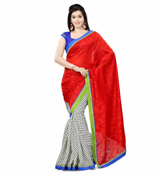 DESIGNER RED AND OFF-WHITE  SEMI CASUAL SAREE RTTV6005