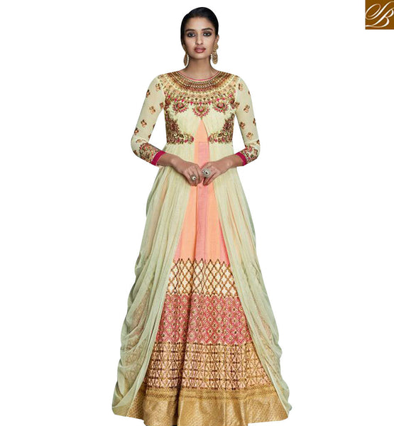 STYLISH BAZAAR GORGEOUS ANARKALI STYLE DESIGNER SUIT EYE CATCHING EMBROIDERED WORK KYR6005