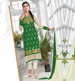 SALWAR DESIGN FOR LATEST PATTERN LONG KAMEEZ AWESOME COLOR COMBNATION GREEN AND OFF-WHITE SALWAR SUIT