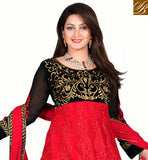 EID 2015 SPECIAL DRESS FOR INDIAN & PAKISTANI LADY Red & black net material suit with red color santoon fabric
