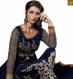 SPLENDID NAVY BLUE GEORGETTE HEAVY EMBROIDERED SUIT WITH SLIT CUT STYLE ABSHE6006