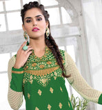AWESOME COLOR COMBNATION GREEN AND OFF-WHITE SALWAR SUIT SUPERB EMBROIDERY WORK IS DONE ALL OVER THE DRESS THAT COMES WITH NAZNEEN DUPATTA