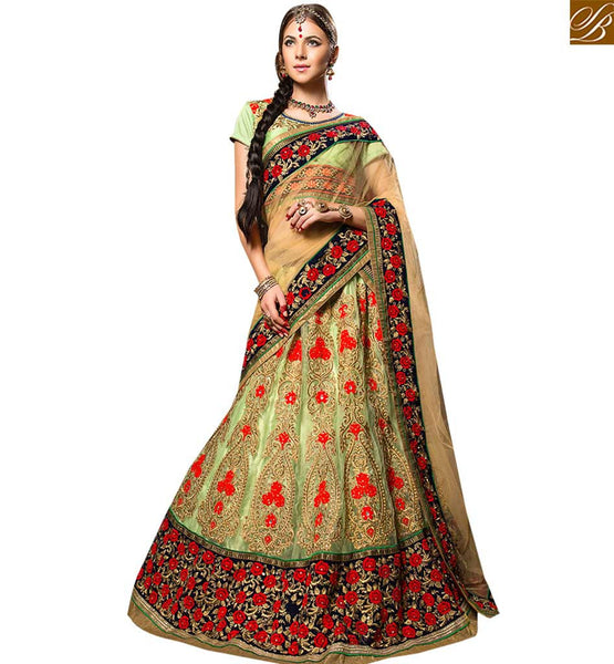 STYLISH BAZAAR MARVELLOUS NEON GREEN COLORED DESIGNER WEDDING WEAR LEHENGA CHOLI RTHYB6006