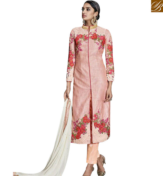 STYLISH BAZAAR GLAMOROUS STRAIGHT CUT DESIGNER SUIT WITH GLITTERING FLORAL WORK KYR6006