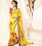 CASUAL SAREE COLLECTION CHEAP PRINTED DESIGNER SARI GEORGETTE BLOUSE