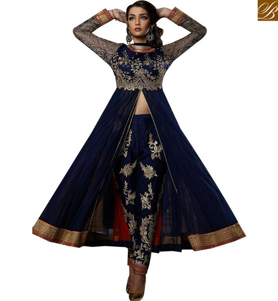 STYLISH BAZAAR SPLENDID NAVY BLUE GEORGETTE HEAVY EMBROIDERED SUIT WITH SLIT CUT STYLE ABSHE6006