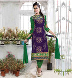 SALWAR DRESS PATTERNS RAJWADI DESIGNS FOR WOMEN PLEASING PURPLE TOP WITH CONTRAST GREEN SALWAR AND SHADED DUPATTA