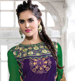 PLEASING PURPLE TOP WITH CONTRAST GREEN SALWAR AND SHADED DUPATTA STRAIGHT CUT CAMBRIC COTTON EMBROIDERERD KAMEEZ WITH NAZNEEN ODHNI