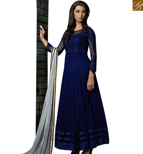 STYLISH BAZAAR LOVELY NAVY BLUE GEORGETTE ANARKALI SALWAR KAMEEZ HAVING GREY DUPATTA OF THE NAJNEEN ABSHE6007