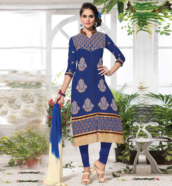 SALWAR KAMEEZ 2015 SHERWANI STYLE FANCY COLLAR SMALL ROUND EMBROIDERED PATTERN ON THE YOKE WITH FLORAL BUTTIS ON SLEEVES