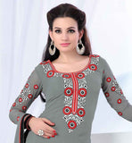 AESTHETIC STRAIGHT PATTERN GREY PARTY WEAR SALWAR SUIT