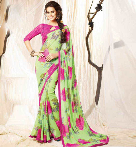 PRINTED CASUAL SAREE DESIGNS MATCHING PLAIN BLOUSE PIECE MATERIAL