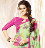 COOL LIGHT GREEN SARI WITH PINK BLOUSE