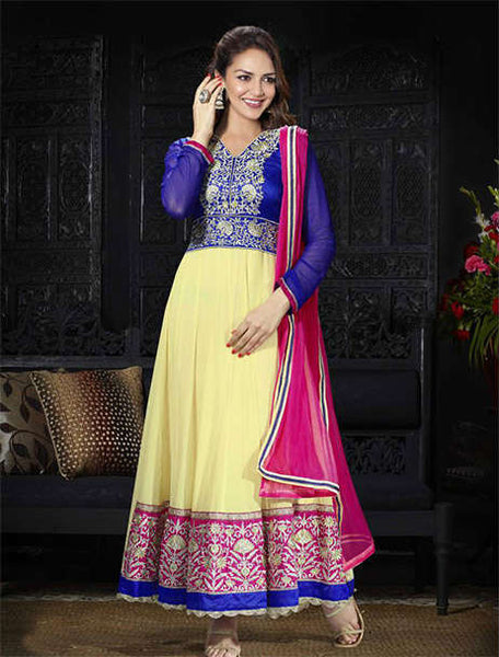 BEAUTIFUL BOLLYWOOD ANARKALI DRESS ESHA DEOL STYLE WITH CHIFFON DUPATTA 1716