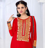 EXQUISITE STRAIGHT PATTERN RED PARTY WEAR SALWAR SUIT