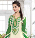 STRAIGHT CUT SALWAR SUIT WITH EXCELLENT EMBROIDERED NECKLINE CAMBRIC COTTON DRESS THAT COMES WITH CONTRAST SALWAR AND DUAL COLOR DUPATTA
