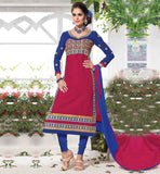 SALWAR KAMEEZ DESIGN BY FAMOUS FASHION DESIGNERS LOVELY PINK EMBROIDERED CAMBRIC COTTON TOP WITH HINTS OF BLUE