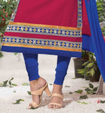 EMBROIDERY WORK IS DONE ON THE DRESS AND NAZNEEN TWO COLOR DUPATTA IS PROVIDED WITH IT SALWAR KAMEEZ DESIGN BY FAMOUS FASHION DESIGNERS