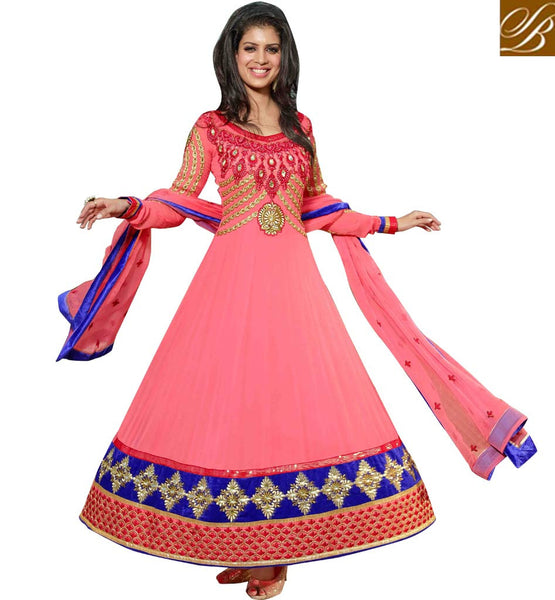 PLEASING PINK PURE GEORGETTE ANARKALI SALWAR SUIT WITH DUPATTA