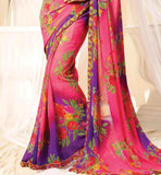 beautiful purple and pink latest fashion georgette Saree