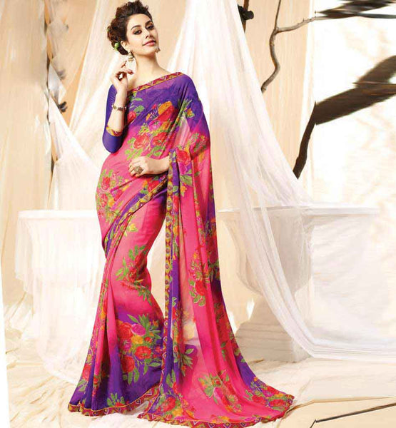 SHOP EXCELLENT FLORAL PRINT CASUAL SAREE BLOUSE ONLINE LATEST DESIGN